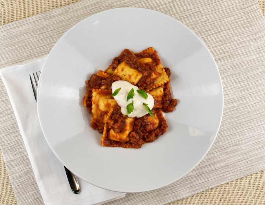 Cheese Ravioli with Eggplant Pomodoro and Stracciatella