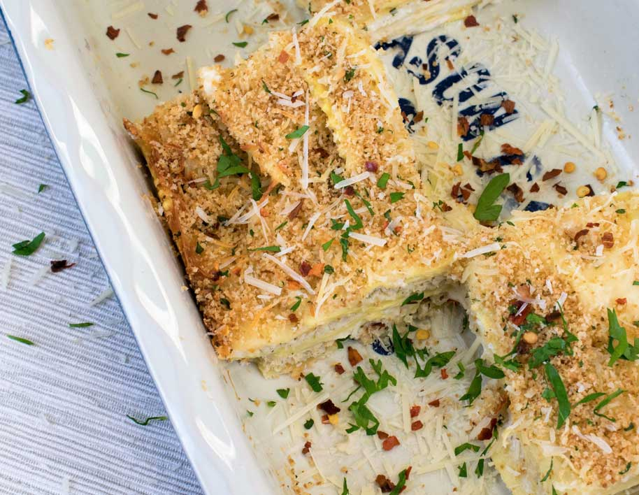 Chicken Alfredo Ravioli Lasagna Bake