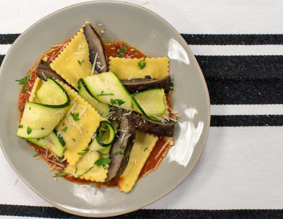 Goat Cheese Ravioli with Roasted Portobellos & Zucchini