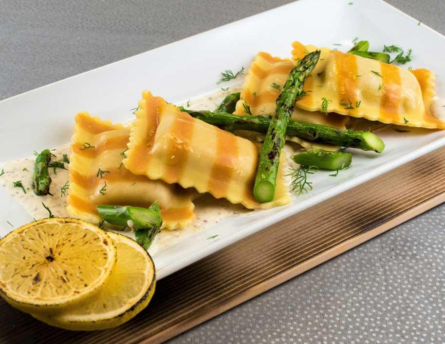 Salmon Ravioli with Dill & Mustard Sauce