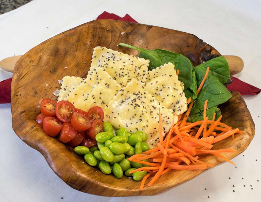 Antioxidant Chia Seed & Spinach Ravioli Pasta Salad