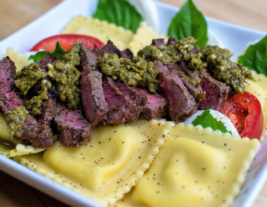 Caprese Cheese Ravioli with Steak